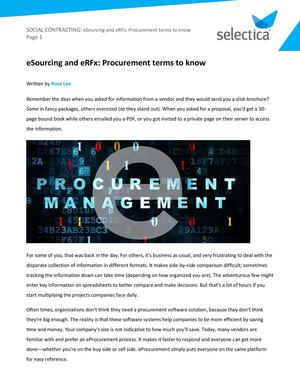 Definition of eSourcing, ePurchasing, and eProcurement