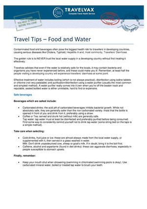 Travel Tips Food And Water