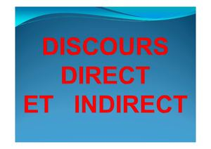 Leçon Discours Direct Indirect