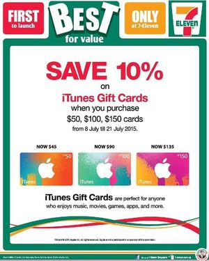 Save 10 On Itunes Gift Cards At 7 Eleven Offer Valid From July 8 21 2015 69693