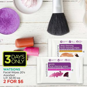 Facial Wipes 2 For 6 At Watsons Offers Valid Till July 15 2015 69738