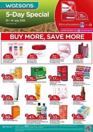 5 Day Special At Watsons Offer Valid From July 10 14 2015 69778
