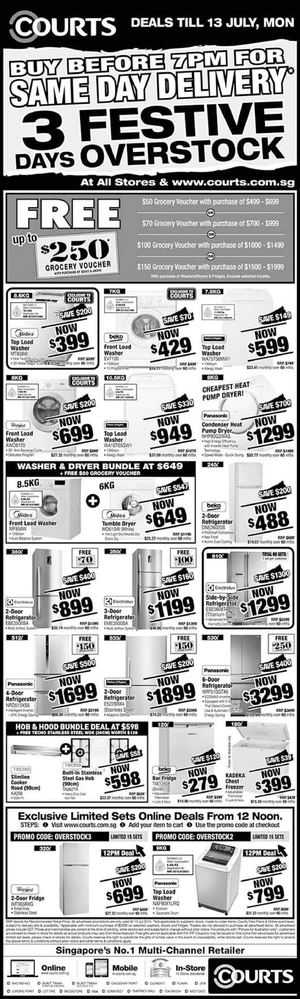 3 Days Festive Overstock Up To 85 Off On Washer Fridge At Courts Valid Till July 13 2015 69786