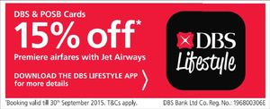 Enjoy 15 Off On Premiere Airfares With Jet Airways Using Dbs Posb Cards Till September 30 2015 69790