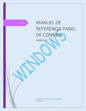 Manual De Referencias Panel De Control Danijj