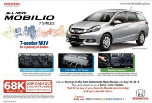 All New Honda Mobilio For 68k Low Cash Out All In Package Valid Till September 30 201569900 69900