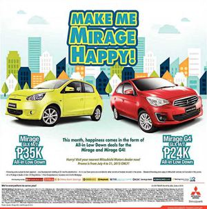 All In Low Down Deals For Mitsubishi Mirage And Mirage G4 From July 4 31 201569905 69905