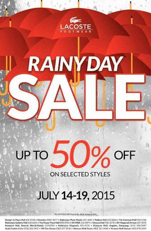 Rainy Day Sale Up To 50 Off At Lacoste Offer Valid From July 14 19 201569910 69910