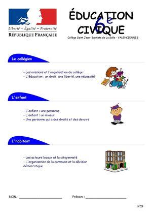 education civique 6eme