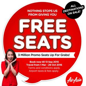 Grab Your Free Seats At Air Asia Book Now Till September 13 201572121 72121