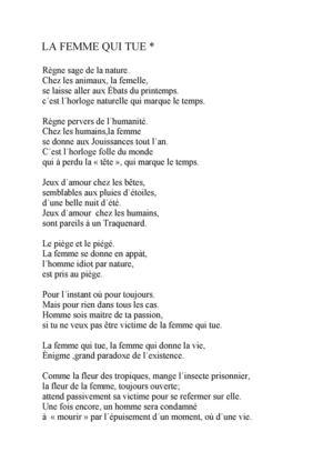 Calaméo La Femme Qui Tue Poeme
