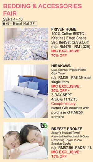 Bedding Accessories Fair At Isetan The Gardens From September 4 16 201572318 72318