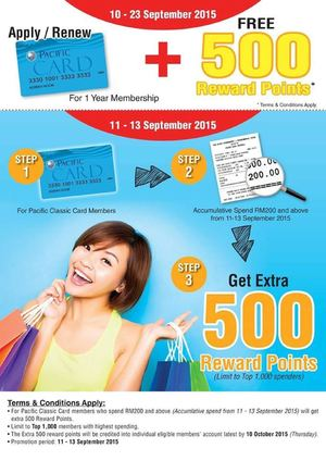Apply Or Renew Pacific Card And Get Free 500 Reward Points From September 10 23 2015 72358