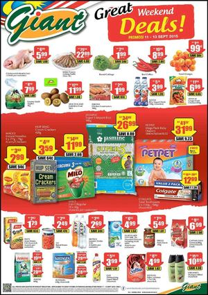 Great Weekend Deals At Giant Offer Valid From September 11 13 2015 72359