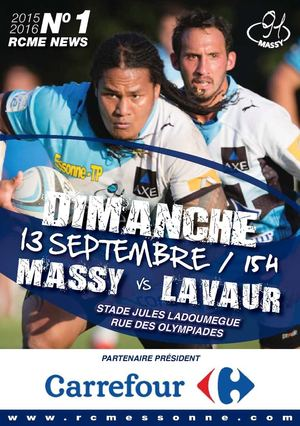 RUGBY CLUB MASSY ESSONNE NEWS N°1 2015 2016 PROGRAMME DE MATCH