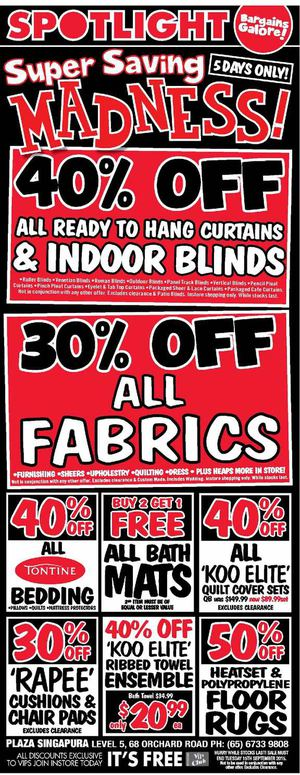 Super Saving Madness 40 Off At Spotlight Offer Valid Till September 15 201572382 72382