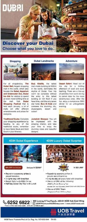 Discover Dubai With Uob Travel Offer Valid For A Limited Period Only72403 72403