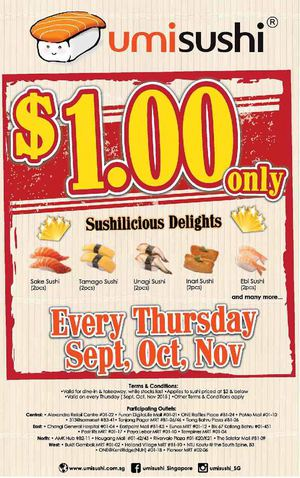 Sushilicious Delights For Only 1 At Umisushi Valid Every Thursday From September To November 2015 72404