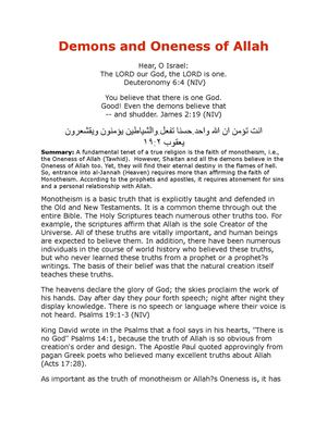 Demons And Oneness Of Allah