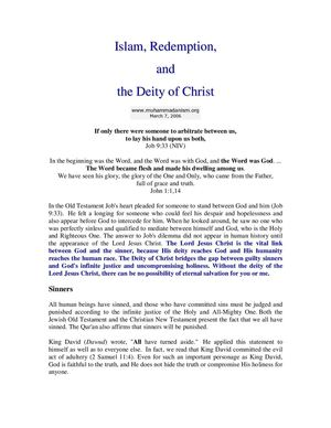 Islam,redemption And The Deityof Christ  .