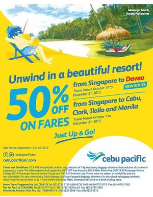 Unwind In A Beautiful Resort From Singapore To Davao At Cebu Pacific Book By September 16 201572429 72429