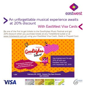 Get 20 Discount On Visa Entertainment Pre Sale With Eastwest Visa Card Till September 22 2015 72438