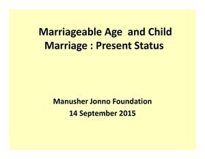 Marriageable Age And Child Marriage