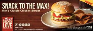 Maxs Classic Chicken Burger For Only P165 Valid While Stocks Last 72459