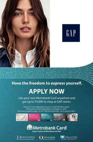 Get Up To P3000 To Shop At Gap Stores Using Metrobank Card Till October 31 2015 72466
