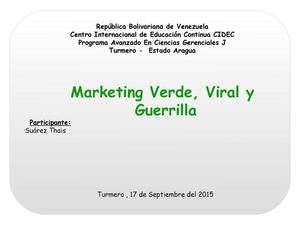 Marketing Verde, Viral Y Guerrilla (Thais Suárez)