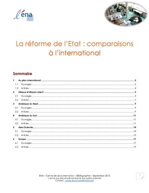 réforme de l'Etat - comparaisons internationales