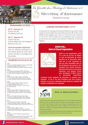 Gazette Du Meeting d'automne - 22/10/15 - CSI 3* Saint Lô