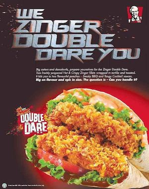 Freshly Prepared Hot Crispy Zinger Double Dare Available At Kfc While Stocks Last74003 74003