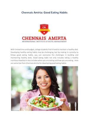 Chennais Amirta Good Eating Habits