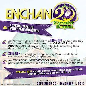 Special Treat To All Twenrt Year Old Guests At Enchanted Kingdom Till November 1 2015 74063