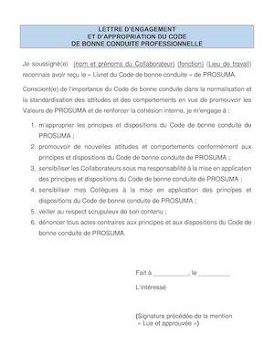 Calameo Lettre D Engagement Code De Bonne Conduite Professionnelle De Prosuma