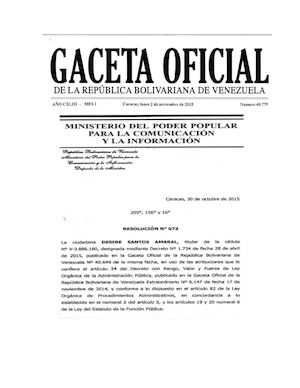 Resolucion Gaceta Oficial No 40779