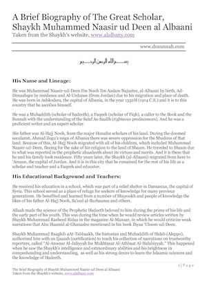 The Brief Biography Of Shaykh Muhammed Naasir Ud Deen Al Albaani