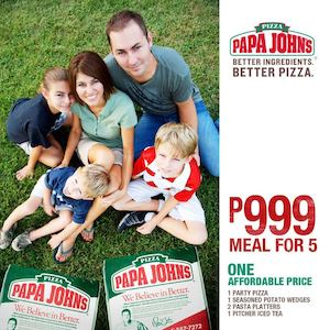 Meal For 5 For Only P999 At Papa Johns Pizza While Stocks Last 74383