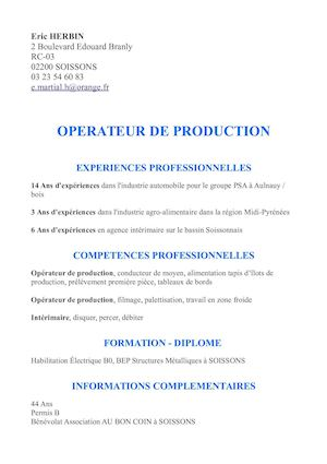 Cv Revi Operateur De Production