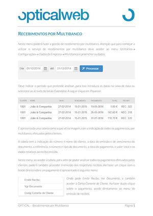 Optical | Recebimentos por Multibanco