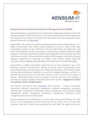 Calaméo - Kensium Solutions Launches Human Resource Management