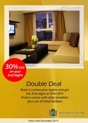 Get Up To 30 Off On Your 2nd Night With Our Double Deal At Millenia Suites Valid Till December 2015 74714