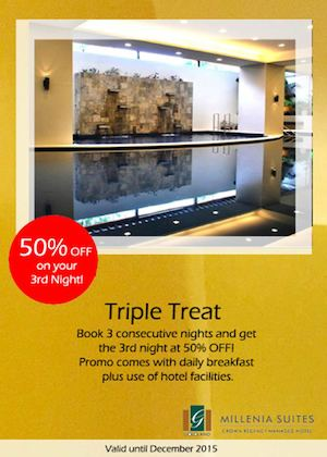 Enjoy 50 Off On Your 3rd Night With Our Triple Treat At Millenia Suites Valid Until December 201574716 74716