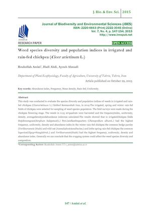 Weed species diversity and population indices in irrigated and rain-fed chickpea (Cicer arietinum L. )