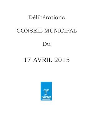 Deliberations CM du 17 avril 2015