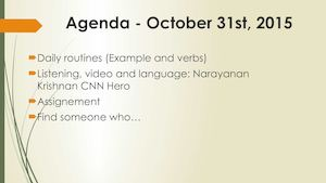 Agenda Oct 31st 11am