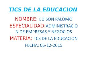 Tics De La Educacion Power Poin
