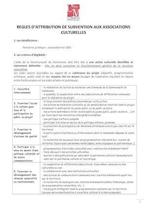 Calameo Criteres D Attribution Des Subventions Aux Associations