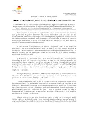 Comunicado Netmentora Chile